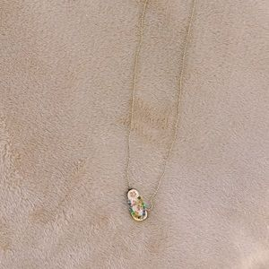 Jeweled & Floral Hawaii Sandal Flip Flop Necklace